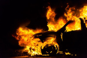 Car in fire, burning
